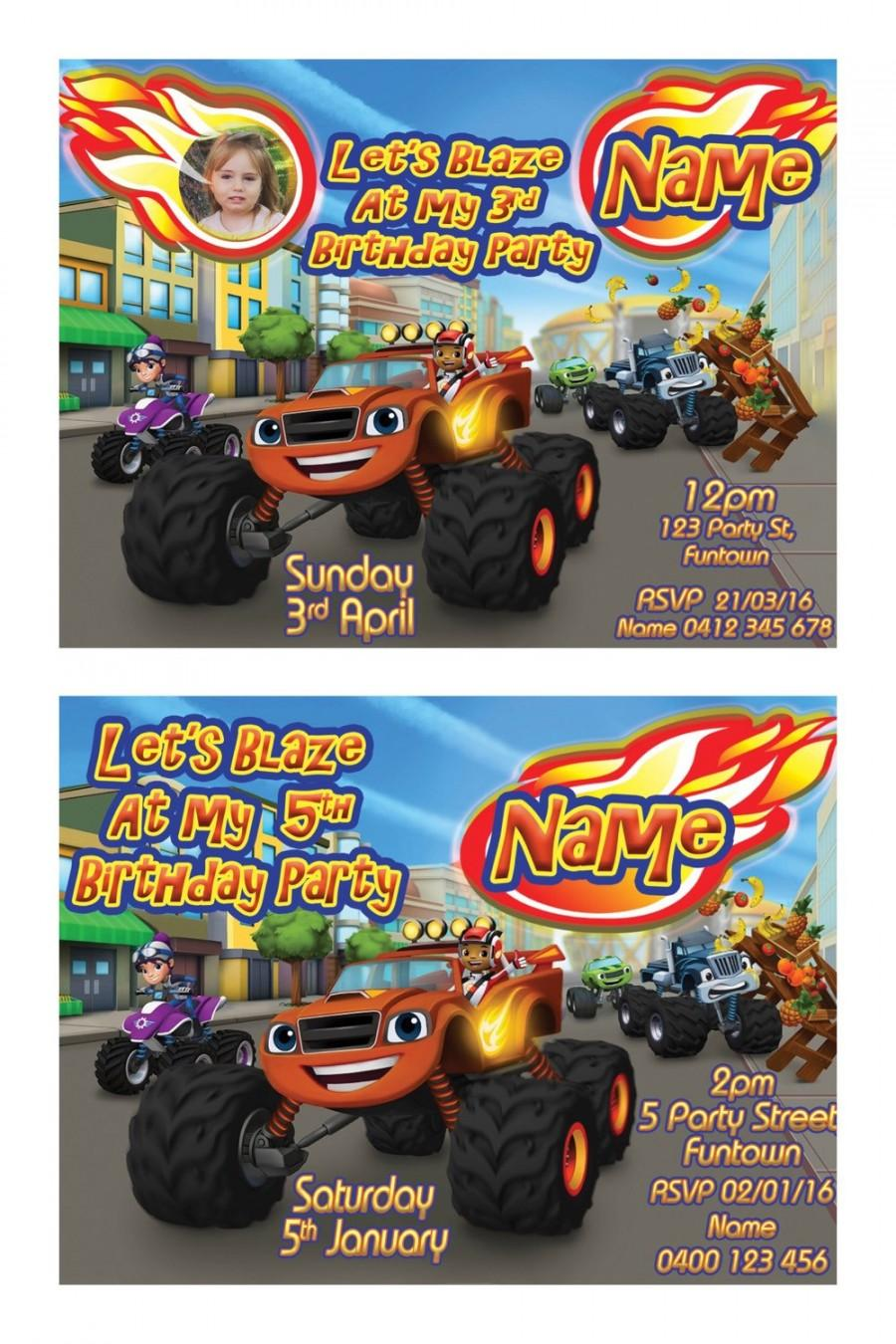 Wedding - Blaze and the Monster Machines Print your Own Invitation Digital File