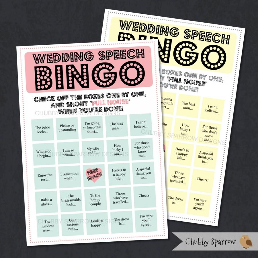 Wedding - Wedding Speech Bingo Game, reception entertainment, Best man speeches, Father of the groom, childrens game,Print at home DIGITAL A5