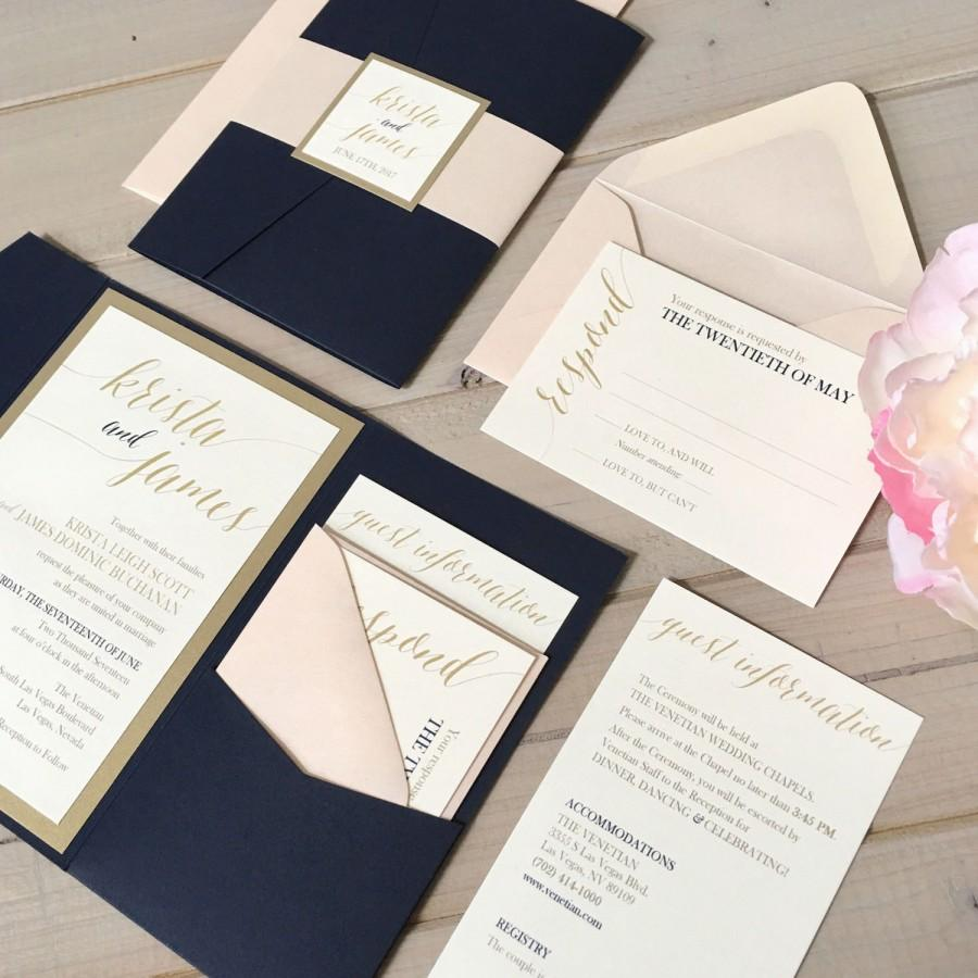 Navy Blush And Gold Wedding Invitations Navy And Pink Wedding