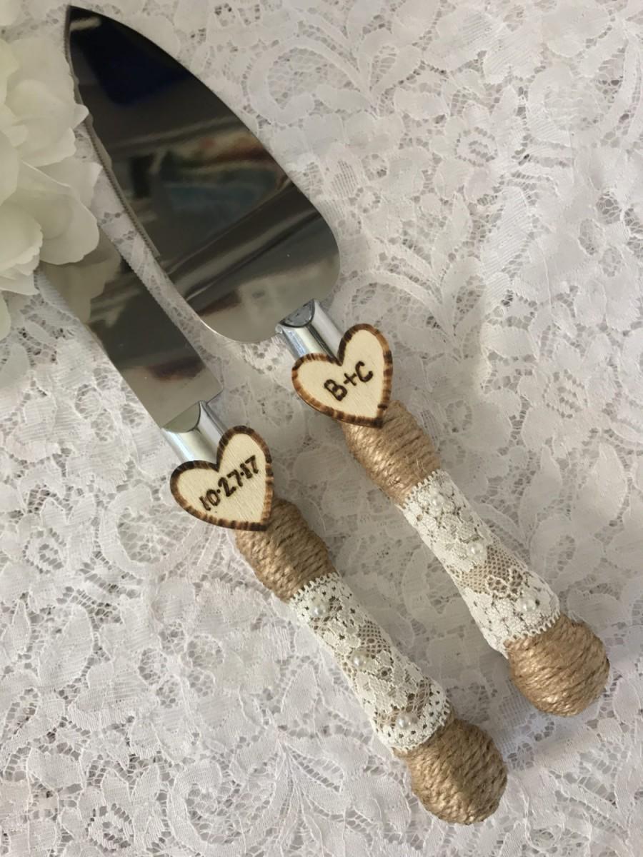 Hochzeit - Rustic Cake Knife Set, Wedding Accessory, Burlap Cake Knife Set, Lace Wedding Knife & Server Set, Engraved Cake Knife Set,Ivory lace