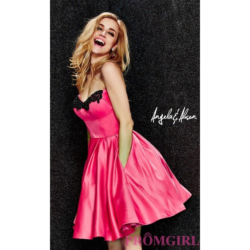 Wedding - Strapless Sweetheart Babydoll Dress by Angela and Alison - Discount Evening Dresses
