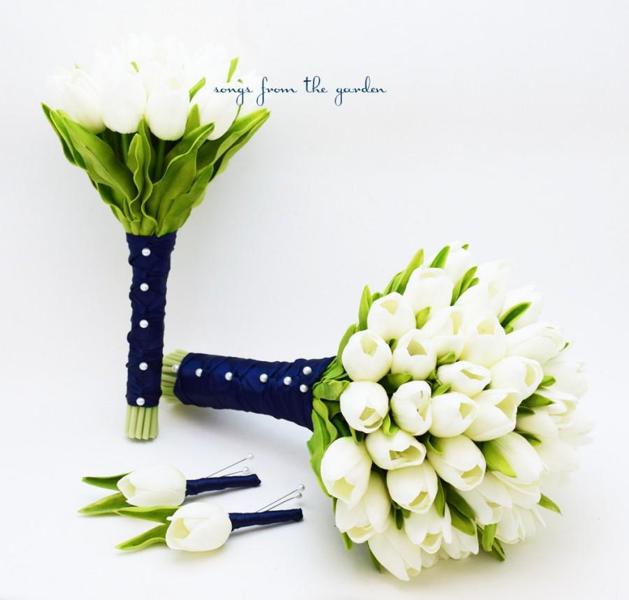 Hochzeit - Real Touch Tulips Bridal & Bridesmaid Bouquet White Navy Blue Ribbon Tulip Wedding Flower Package Silk Artificial Tulips