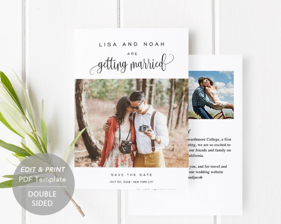 Wedding - Printable Save-the-Date Template, Save the Date Invitation, DIY Wedding Engagement Invite Card, PDF Instant Download, Photo Card, #SPP013sdp