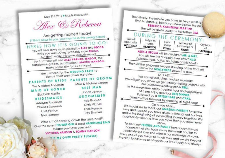 Funny Wedding Program Instant Download Barn Laid Back DIY Template Modern Bride On A Budget