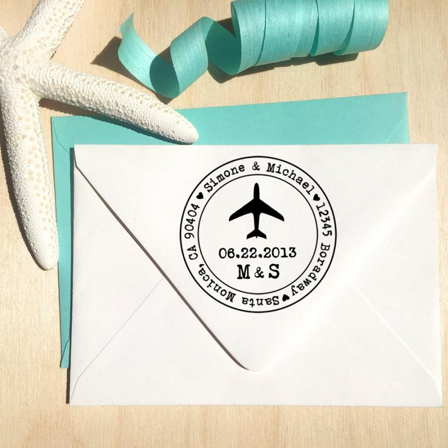 Свадьба - Airplane Custom Address Stamp, Save the Date stamp, Wedding stamp, destination wedding