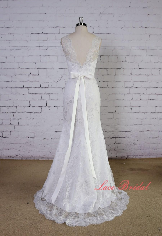 Wedding - Soft Light Grey Lace Wedding Gown V-Back Wedding Dress Mermaid Style Wedding Dress with Waistband
