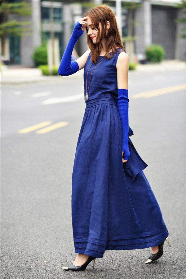 Mariage - Blue Maxi Dress Gown, Maxi Long Dress, Evening Dress, Prom Dress, Cocktail Dress, Elegant Tunic Dress, Empired Waist Dress, Pintucks Dress