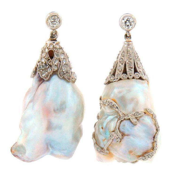 Wedding - Art Deco Natural Saltwater Baroque Pearl Diamond Platinum Earrings
