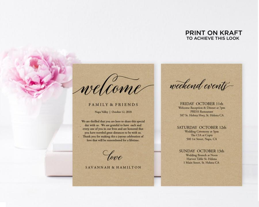 Wedding Welcome Bag Note Rustic Wedding Wedding Calligraphy