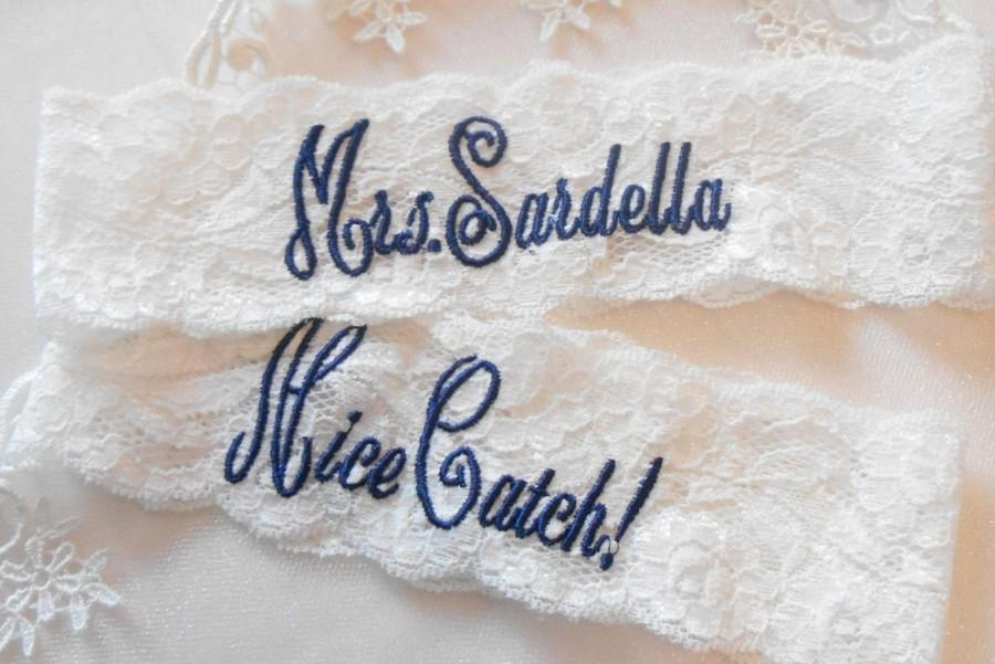 "Hochzeit - MONOGRAMMED Wedding Garter Mrs. Toss With Phrase ""You're Next! Bridal Garter Floral Stretch Lace Bridal Garter Single Garter"