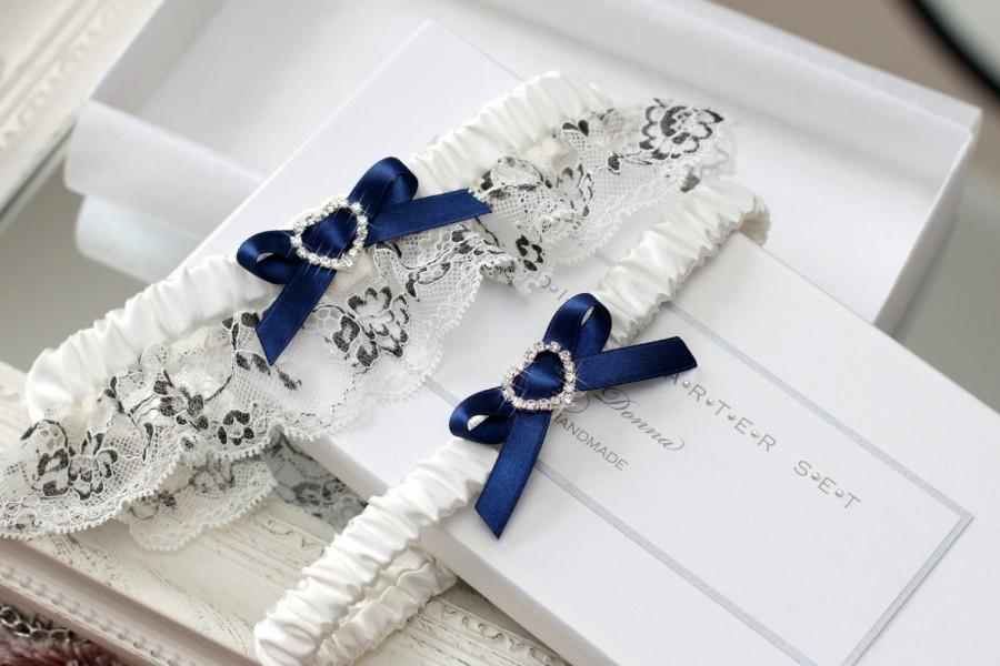 Hochzeit - navy blue wedding garter set, navy blue garter set, navy blue wedding, something blue for bride, something blue garter set, plus size garter