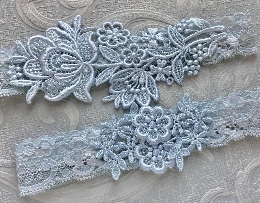 "Hochzeit - Blue Lace Wedding Garter Set, Blue Garter Set, Lace Garter, Toss Garter, Simple Lace Garters - Available in Ivory or White - ""Flora"""