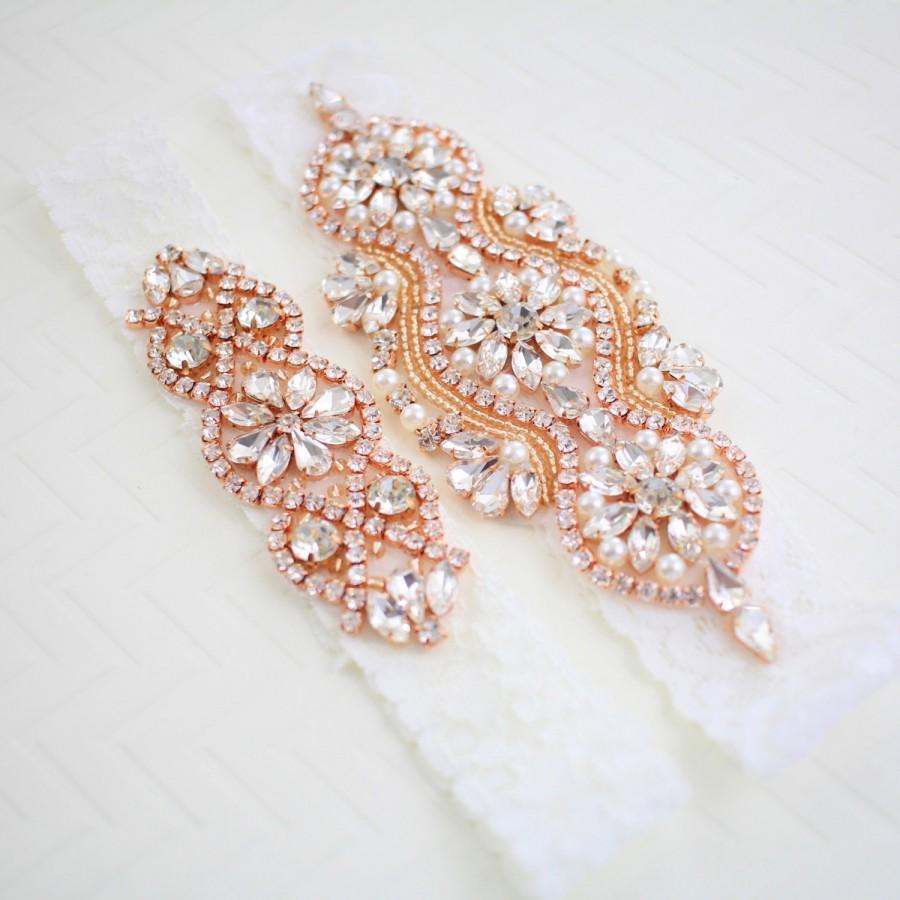 Hochzeit - Rose Gold Garter Set, Rose Gold Rhinestone Wedding Garter Set,Bridal Rose Gold Garter Belt,Blush Wedding Garter, GT-70