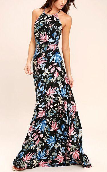 Mariage - Loving Ways Black Floral Print Maxi Dress