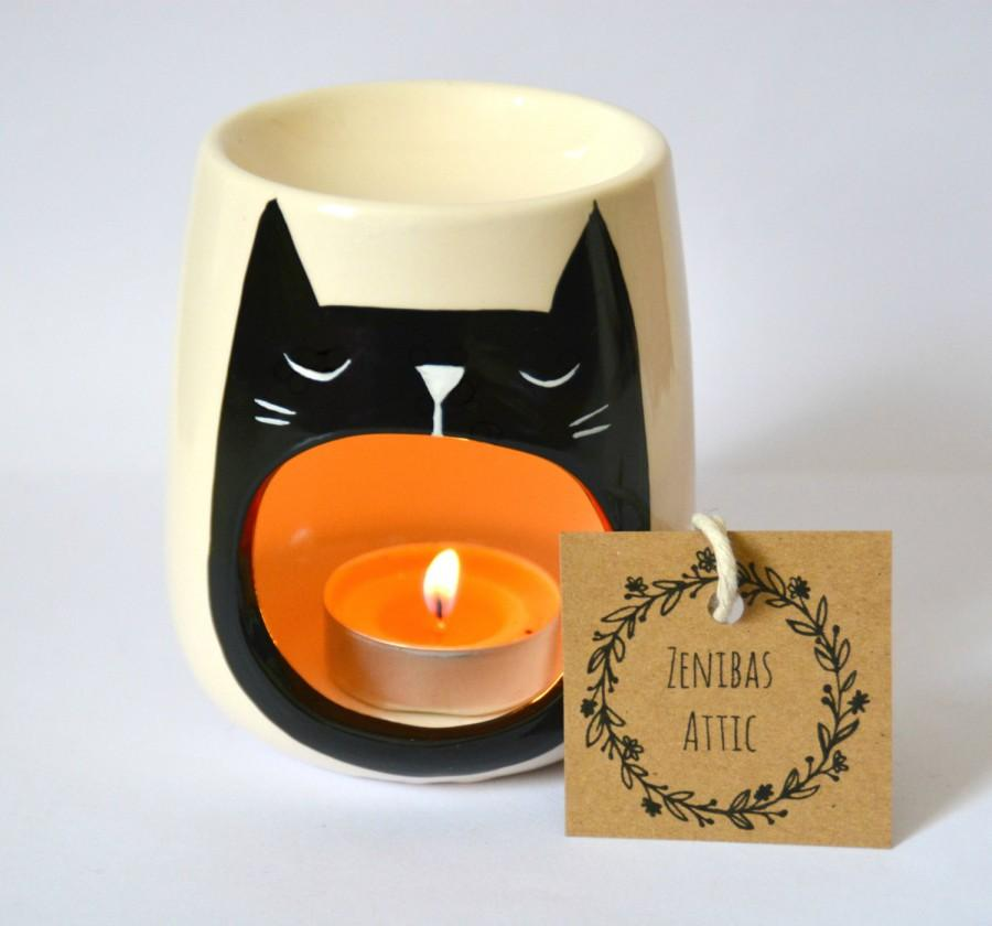 Cat Oil Burner Black Cat Lover Gift Wax Melter Cat Lady Gift