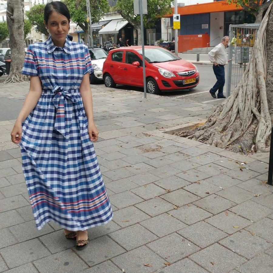Mariage - Summer short sleeve dress,  plaids collar top, loose fit maxi dress, button down oversize dress, belted dress, men shirt dress, collar neck
