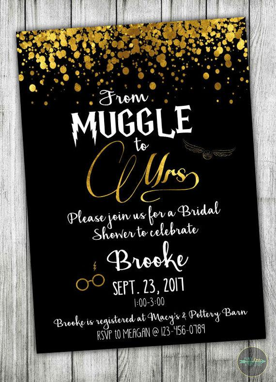 Hochzeit - Custom Harry Potter Bridal Shower Invitation - Muggle to Mrs - Bridal Shower - Wedding Shower - Harry Potter Theme - Black and Gold