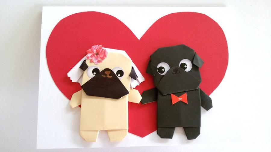 Handmade pug wedding card funny anniversary card for boyfriend handmade pug wedding card funny anniversary card for boyfriend girlfriend husband wife him her pugs cute engagement thecheapjerseys Images