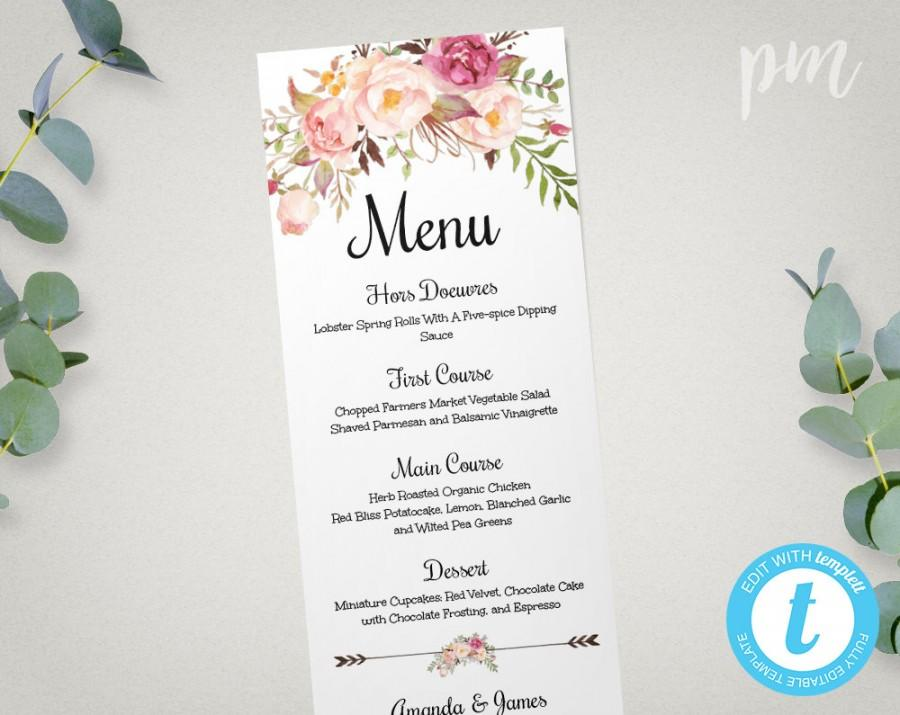 Wedding Menu Template, Printable Menu, Floral Wedding Menu