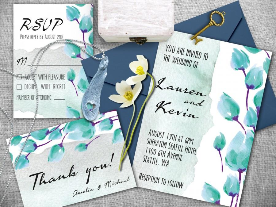 Свадьба - Watercolor wedding invitation. Invitation wedding kit, Printable wedding invitations set. Wedding invitations, RSVP, Thank you card