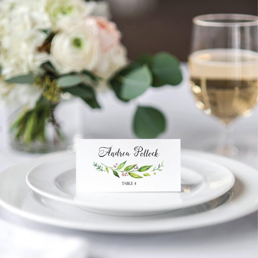 Wedding Tented Place Cards Green Wedding Name Cards Printable ...