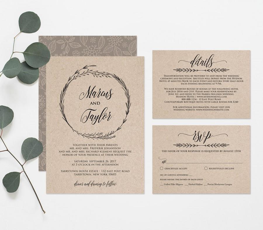 Printable Wedding Invitation Template, Rustic Wreath Wedding ...