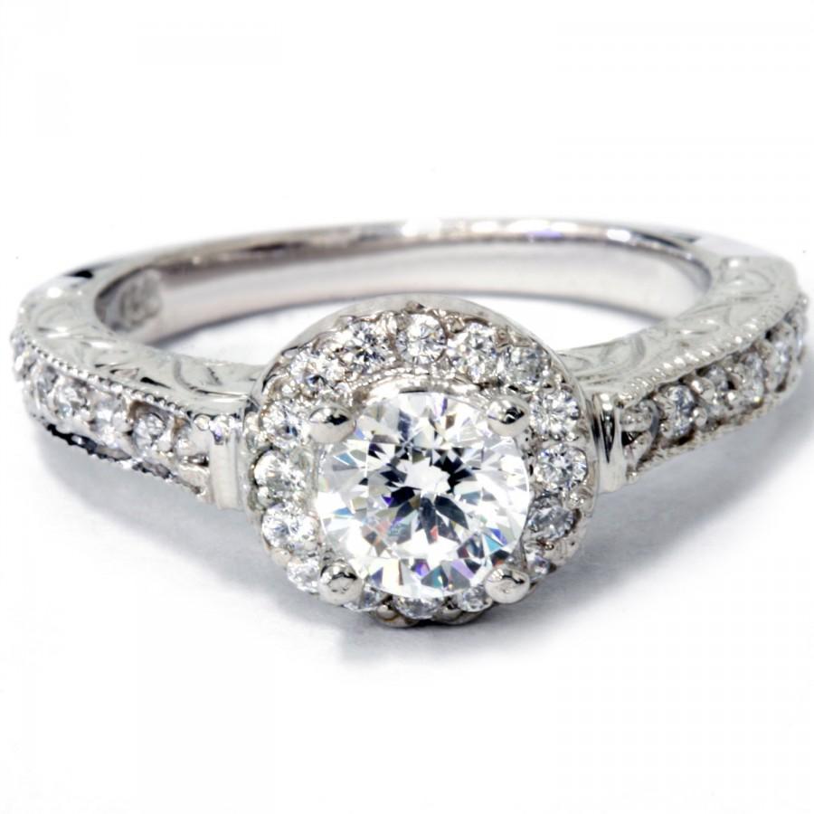 Свадьба - 3/4 cttw Vintage Diamond Engagement Ring Antique Hand Engraved Style 14K White Gold Size 4-9