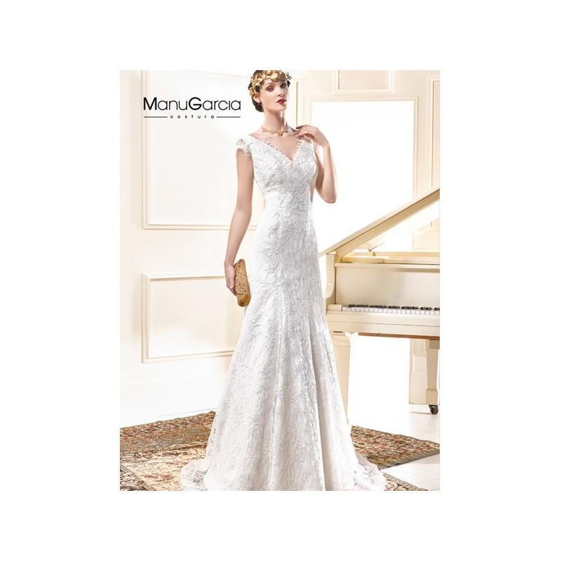 Hochzeit - Vestido de novia de Manu García Modelo MG0631 - 2015 Sirena Con mangas Vestido - Tienda nupcial con estilo del cordón