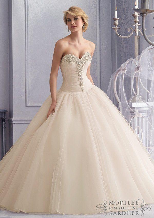 زفاف - Mori Lee 2677 Strapless Drop Waist Ball Gown Sample Sale Wedding Dress