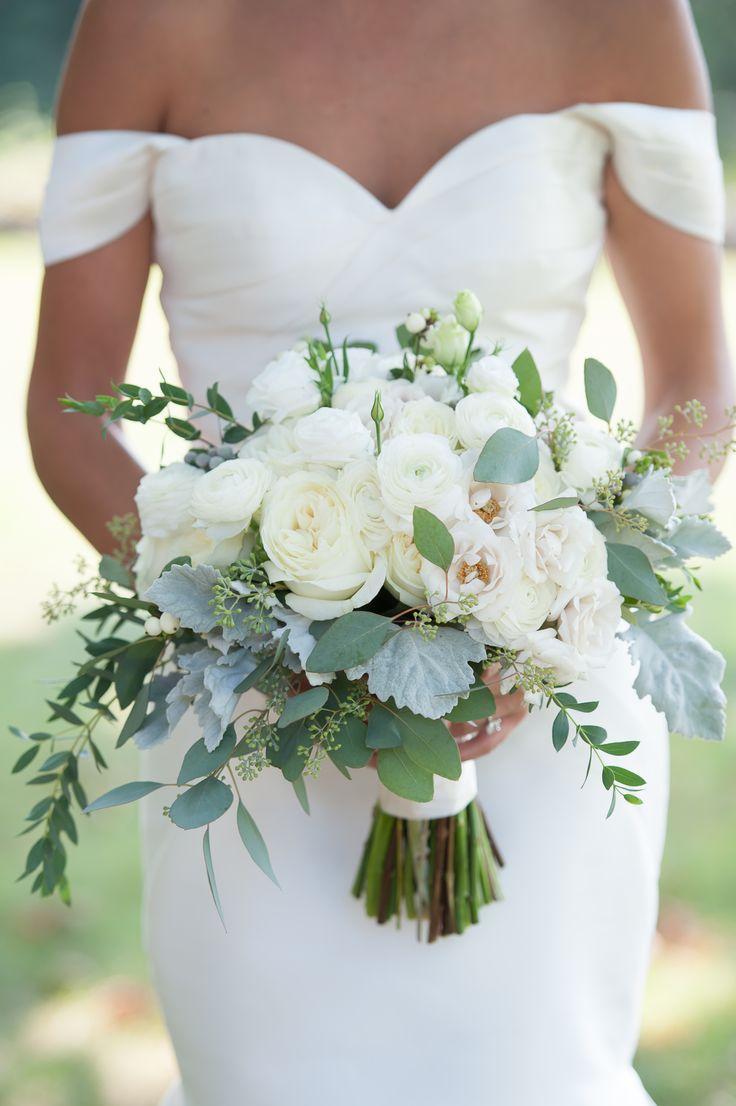 Wedding - White Ranunculus And Eucalyptus Bouquet