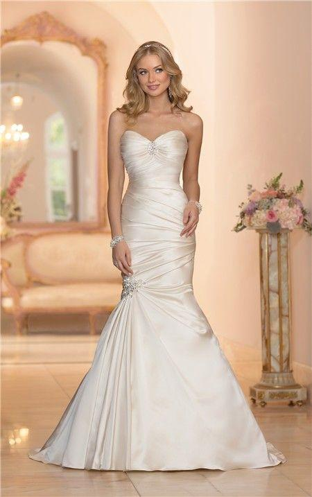 Wedding - Mermaid Sweetheart Ivory Satin Ruched Wedding Dress Corset Back