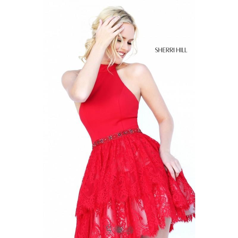 زفاف - Wine Sherri Hill 50634 - Short Lace Open Back Dress - Customize Your Prom Dress