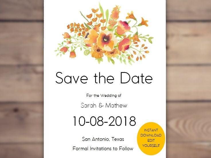 زفاف - Printable Save The Date Template