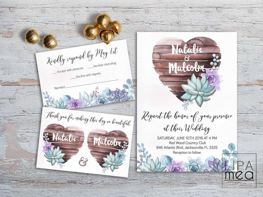 Mariage - Rustic Wedding Invitation, Floral Wedding Invitation Suite, Boho Wedding Invitation Succulent Wedding Invitation Printable, Summer Wedding