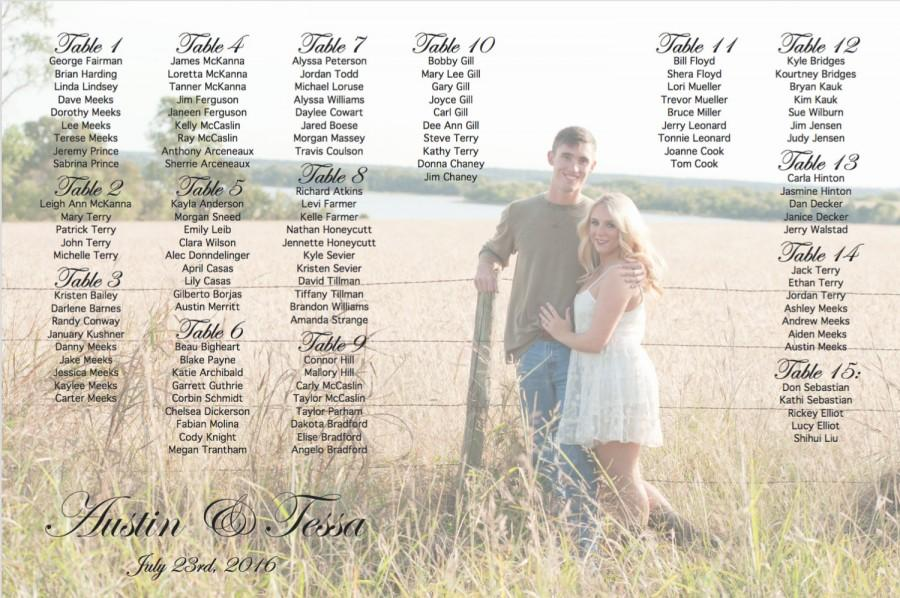 Свадьба - Photo Seating Chart, Customized Wedding Seating Chart with Bride & Groom Picture or Photo