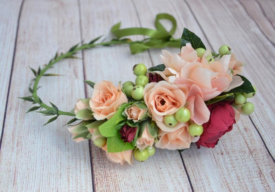 زفاف - Boho flower crown Rustic flower crown Bridal head wreath Bridal flower crown Bridal headpiece Wedding head wreath Wedding headpiece Gift