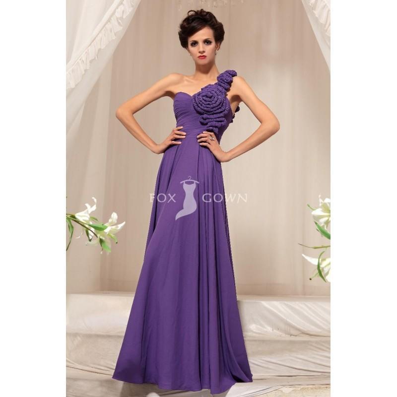 Свадьба - Lila Stock Länge Empire geraffte 3D-Blume eine Schulter Chiffon Prom Kleid - Festliche Kleider