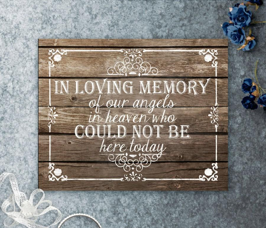 زفاف - In Loving memory Printable Wooden Wedding Sign, our angels in heaven, Those who could not be here today, Wedding Memorial, Wedding Memorium