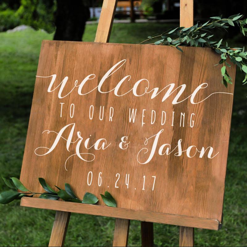 Wedding - Simple Personalized Wedding Welcome Sign Names and Date -Wall Decal Custom Vinyl Stickers for Weddings, Wedding Signs, Chalkboard, Mirrors