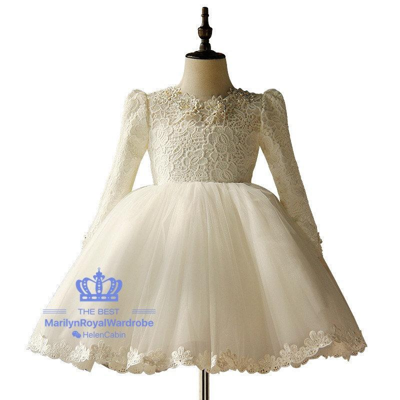 3e9d2515bc7 Ivory Lace Tulle Flower Girl Dress Wedding Junior Bridesmaid With Long  Sleeve