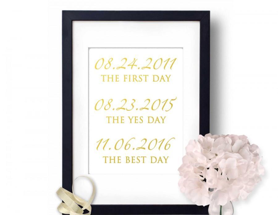 Wedding Dates Sign Gold Foil Wedding Signs Gold Foil Print