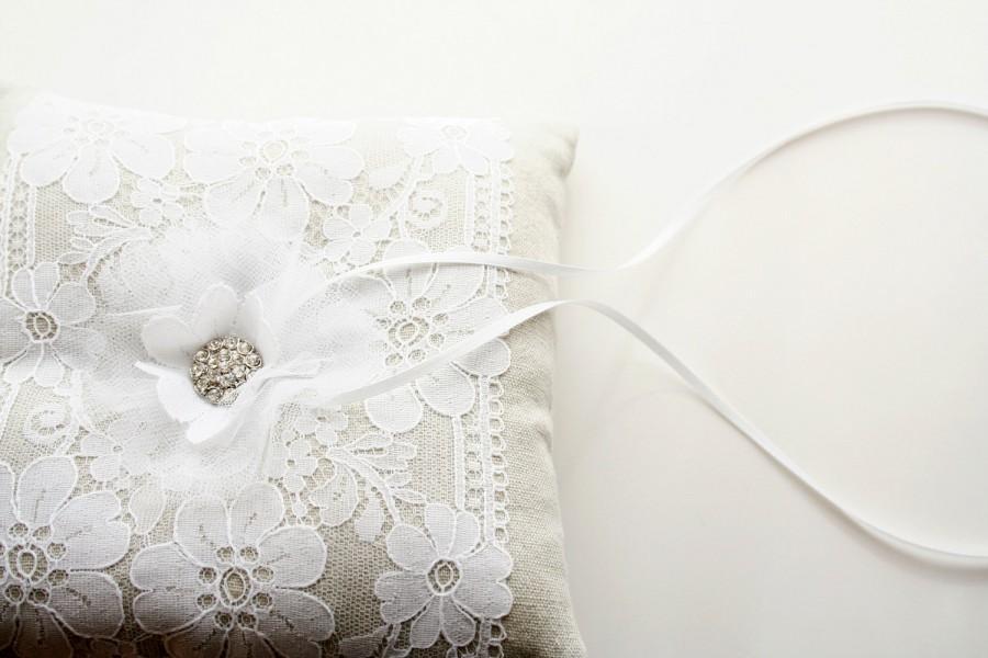 Mariage - Lace Ring Bearer Pillow, Ring Pillow, Ring Cushion