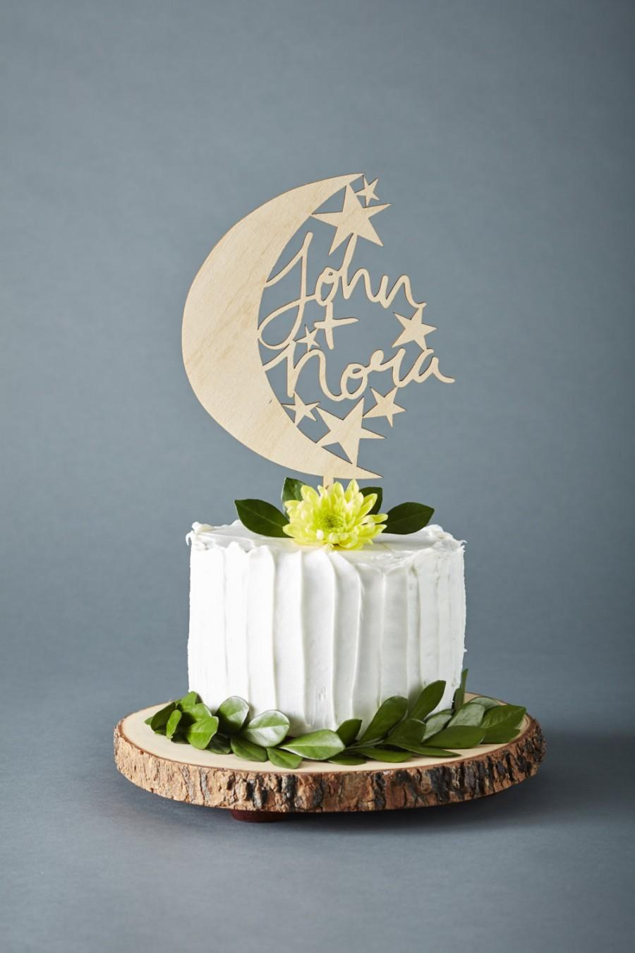 Mariage - Cake Topper Custom Wedding - Moon and Stars Wedding Cake Topper - Wooden Cake Topper  - Hand-lettered Personalized Cake Topper