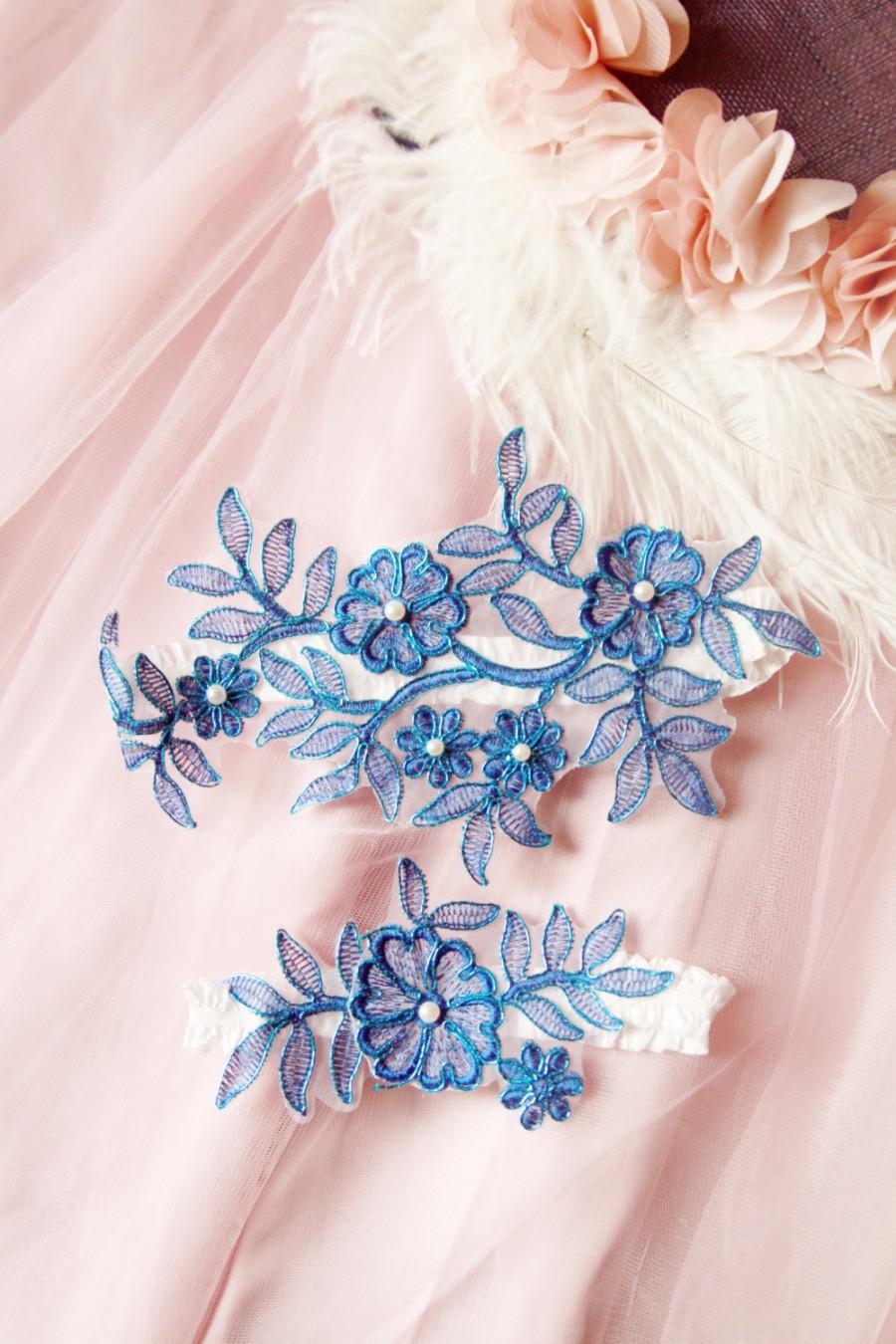 Hochzeit - Wedding Garters Bridal Garter Set - Electric Blue Garter Lace Garter - Rustic Bohemian Wedding Toss Garter - Vintage Inspired Lace Garter