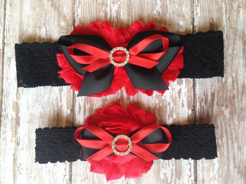 Hochzeit - Red and Black Garter Set
