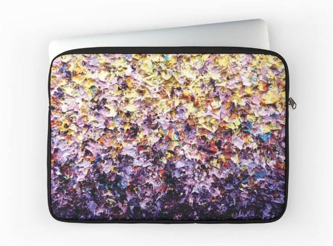 Mariage - Laptop Sleeve, Plush Padded Multicolored Lavender and Yellow Laptop Bag, Computer Case, Laptop Case, Laptop Carrying Case with Top Zipper