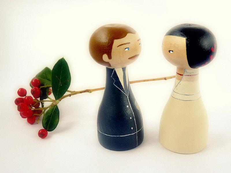 Mariage - Wedding Custom Cake Toppers - Personalized Wooden art doll hand painted FREE SHIPPING