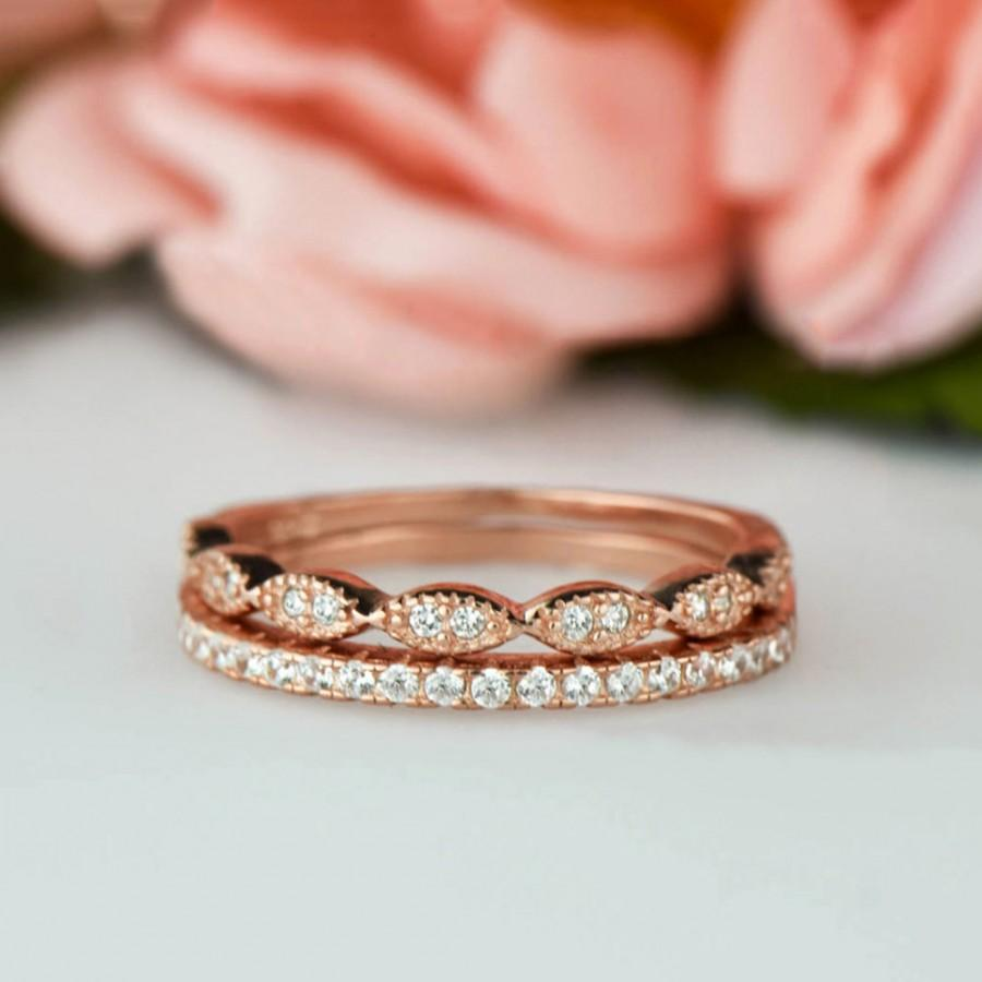 Hochzeit - Art Deco Wedding Band and Half Eternity Band Set, Thin 1.5mm Engagement Ring, Man Made Diamond Simulants, Sterling Silver, Rose Gold Plated