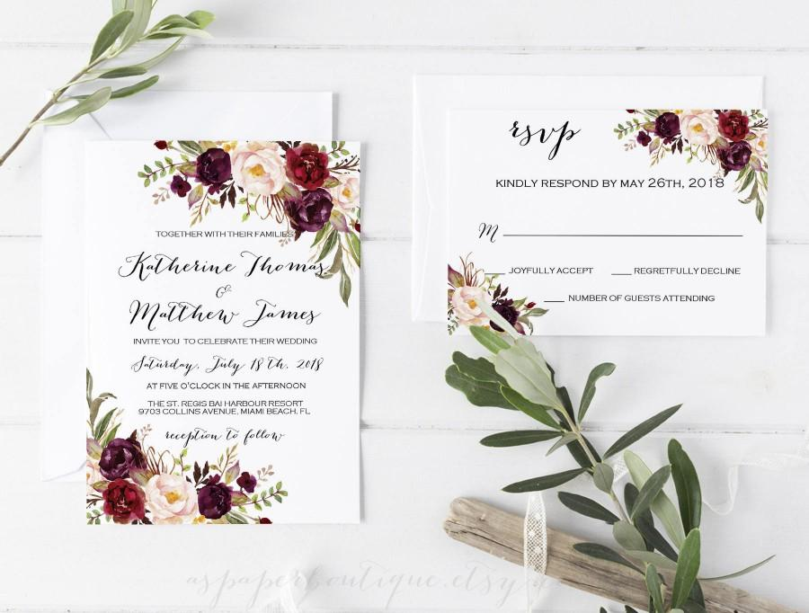 Wedding - Wedding Invitation Template Set  floral Printable wedding invites set  Wedding Invitation Suite Rustic Wedding Invitation ASPM001
