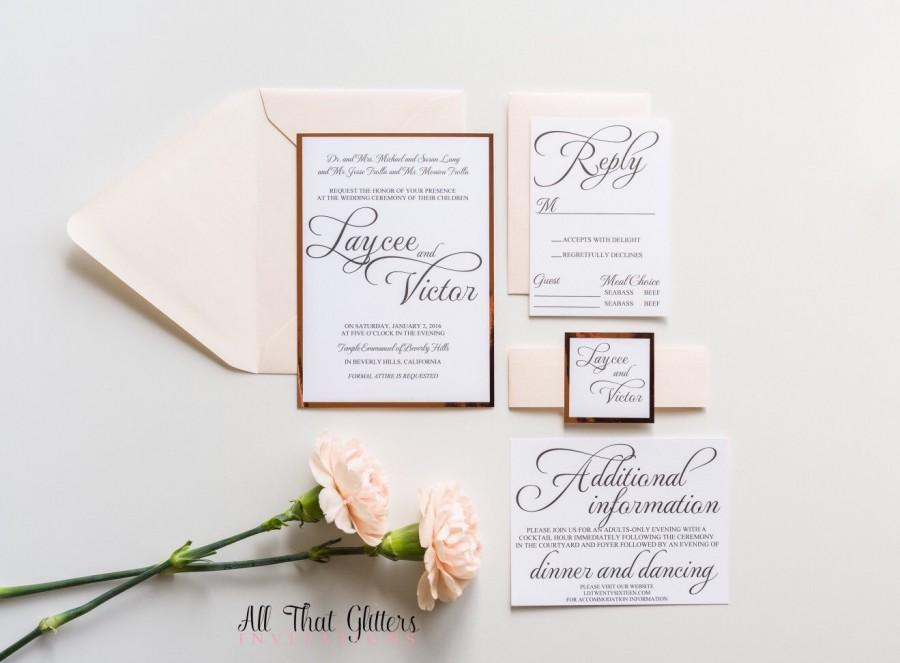 blush and rose gold wedding invitation mirrored wedding invitations foil wedding invitations mirror wedding invitations suite laycee - Rose Gold Wedding Invitations